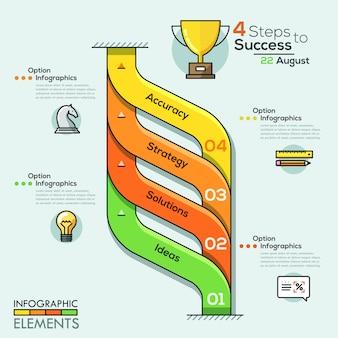 Insegna moderna di opzioni di infographics a spirale