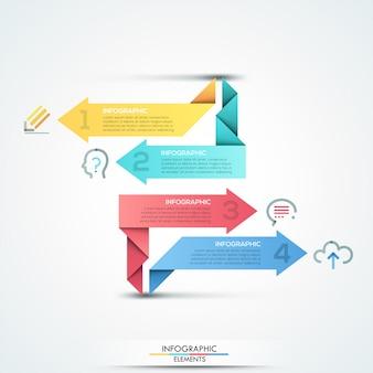 Insegna moderna di opzioni di infographics con 4 frecce di carta