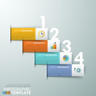 Insegna moderna di opzioni di infographics con i nastri