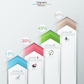 Insegna moderna di opzioni di infographics con il cubo bianco realistico