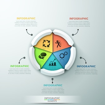 Insegna moderna di opzioni di infographics con il diagramma a torta di 5 parti