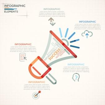 Insegna moderna di opzioni di infographics con il megafono variopinto