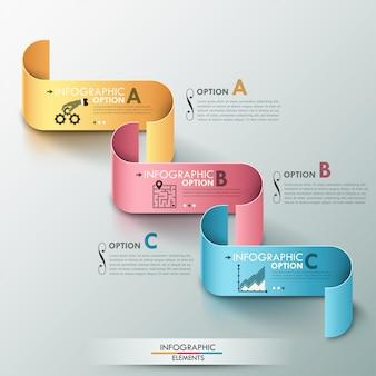 Insegna moderna di opzioni di infographics con il modello trattato