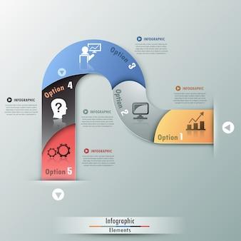 Insegna moderna di opzioni di infographics con il nastro