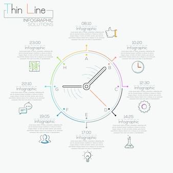 Insegna moderna di opzioni di infographics con l'orologio variopinto