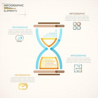 Insegna moderna di opzioni di infographics con la clessidra variopinta