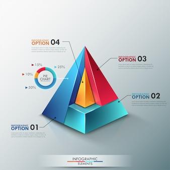 Insegna moderna di opzioni di infographics con la piramide variopinta