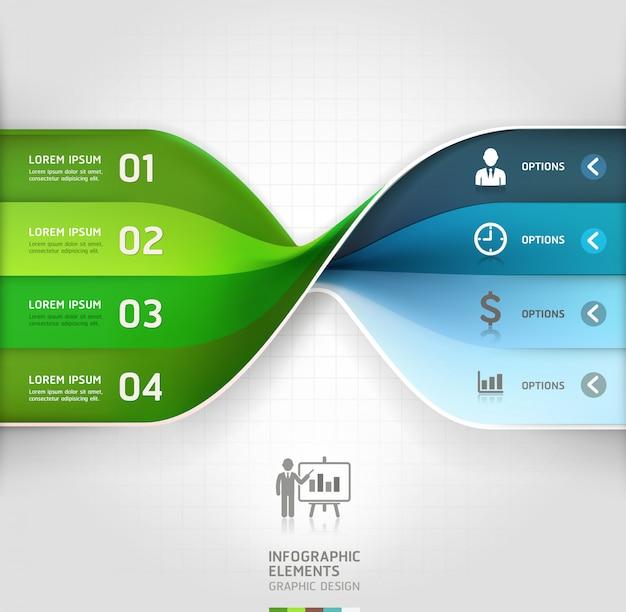 Insegna moderna di opzioni di infographics di spirale di affari.