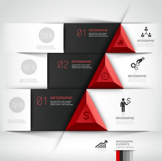 Insegna moderna di opzioni di stile di origami dello steb di affari 3d.