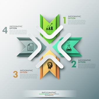 Insegna moderna di opzioni infographic con 4 frecce di carta