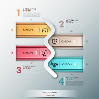 Insegna moderna di opzioni infographic con 4 frecce