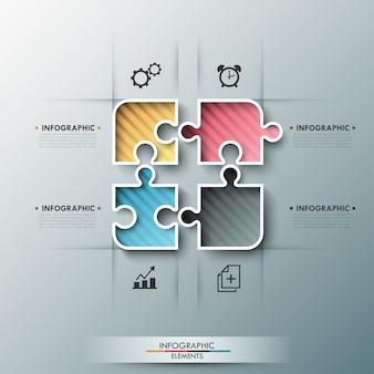 Insegna moderna di opzioni infographic con gli elementi di puzzle di colore