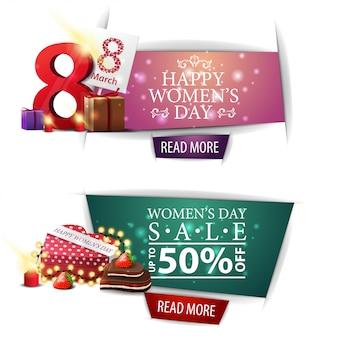 Insegna moderna di sconto di giorno delle donne con i regali,