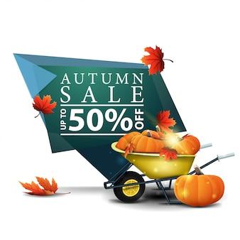 Insegna moderna di sconto geometrico verde alla vendita di autunno con la carriola del giardino