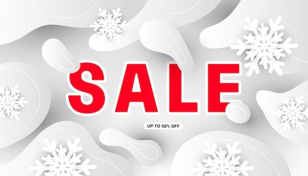 Insegna moderna di vendita minima di inverno con i fiocchi di neve bianchi realistici, forme grige fluide su bianco