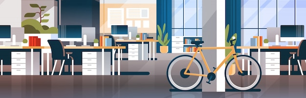 Insegna moderna interna dello scrittorio del posto di lavoro della stanza del centro coworking creativo dell'ufficio