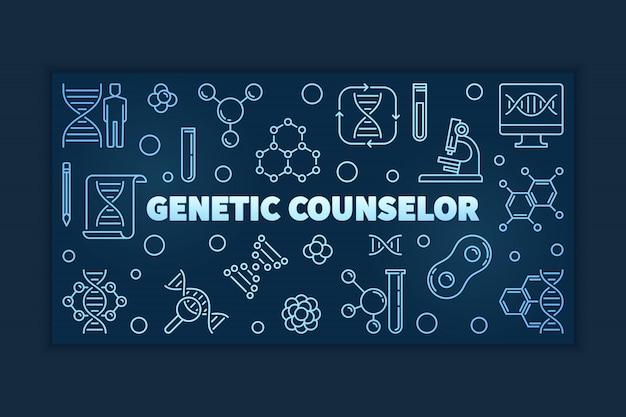 Insegna o illustrazione lineare blu del consulente genetico