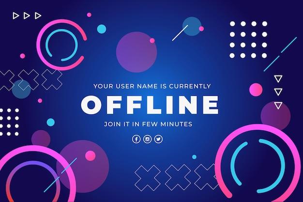 Insegna offline astratta di twitch con gli elementi di memphis