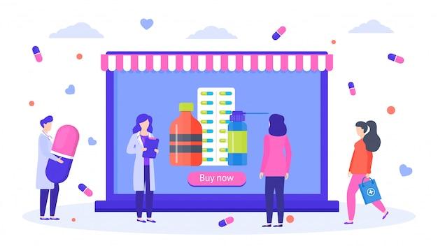 Insegna online dell'illustrazione del deposito delle medicine di sanità della farmacia. negozio farmaceutico con vendita online di pillole di farmaci.