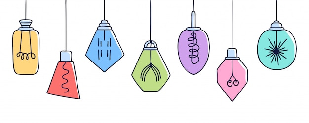 Insegna orizzontale con l'insieme disegnato a mano di vettore delle lampade geometriche variopinte differenti del sottotetto