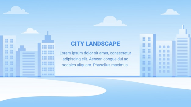 Insegna orizzontale del paesaggio della città, architettura