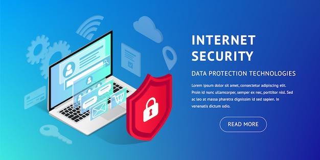 Insegna orizzontale di sicurezza isometrica di internet su fondo blu. illustrazione di protezione dei dati con laptop, schermo 3d e scudo. sicurezza e concetto di informazioni personali riservate