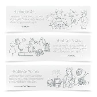 Insegna orizzontale fatta a mano messa con gli elementi di cucito disegnati a mano