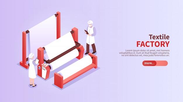 Insegna orizzontale isometrica con gli operai e l'attrezzatura 3d del tessuto