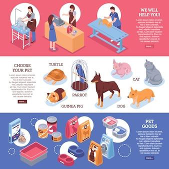 Insegna orizzontale isometrica dell'insegna del negozio di animali