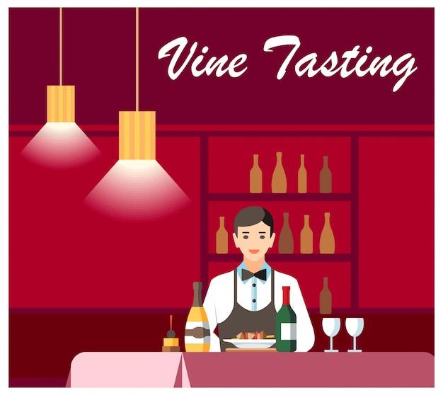 Insegna piana di vettore di degustation del vino e del formaggio