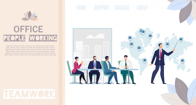 Insegna piana di web di vettore della gente dell'ufficio funzionante