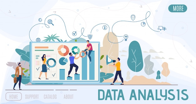 Insegna piana di web di vettore di analisi dei dati di affari