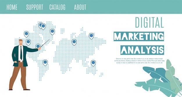 Insegna piana di web di vettore di analisi di vendita di digital