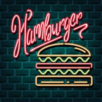 Insegna pubblicitaria al neon dell'hamburger
