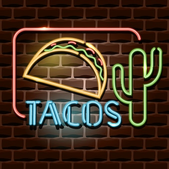 Insegna pubblicitaria al neon tacos
