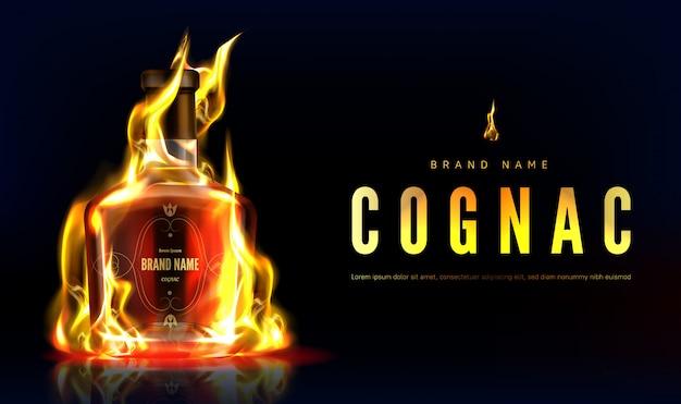 Insegna pubblicitaria del fuoco della bottiglia del cognac. boccetta in bianco di vetro bruciante chiusa con la forte bevanda dell'alcool su fondo nero con la fiamma, annuncio della bevanda. illustrazione 3d realistica