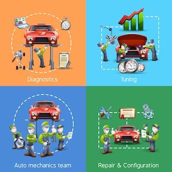 Insegna quadrata delle 4 icone del meccanico automatico
