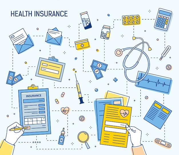 Insegna quadrata variopinta con le mani che compilano il documento di assicurazione sanitaria e che calcolano le spese sanitarie circondate dalle medicine, dagli strumenti medici, dalle fatture dei soldi, dalle monete. illustrazione lineare.