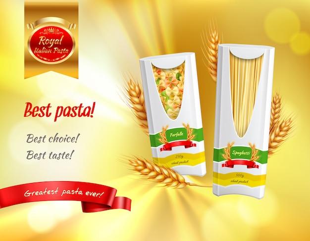 Insegna realistica della pubblicità colorata della pasta con l'illustrazione dei titoli di migliore gusto della migliore scelta della migliore pasta