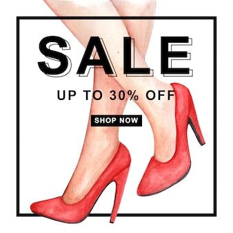 Insegna rossa di vendita dell'acquerello delle scarpe dei tacchi alti