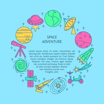 Insegna rotonda di concetto dello spazio nella linea stile