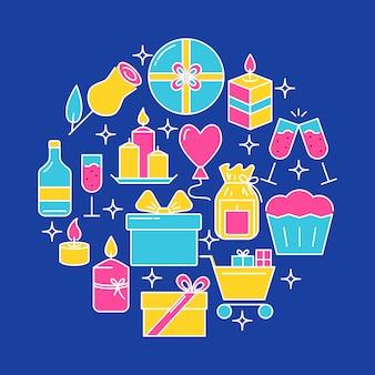 Insegna rotonda di concetto di celebrazione di festa