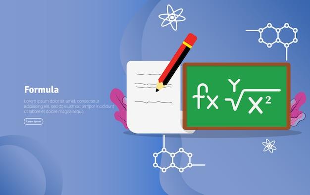 Insegna scientifica dell'illustrazione di concetto di formula