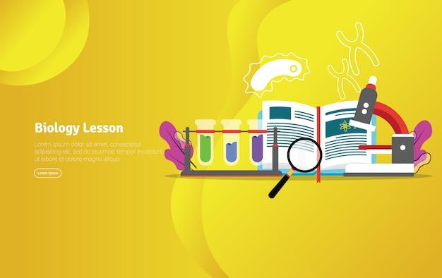 Insegna scientifica dell'illustrazione di concetto di lezione di biologia