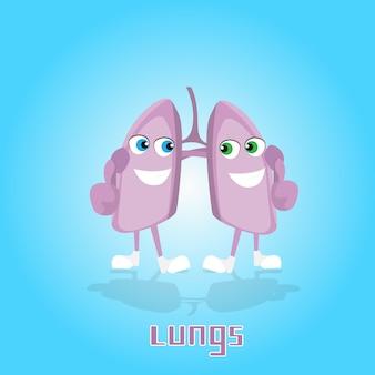 Insegna sorridente dell'icona del personaggio dei cartoni animati dei polmoni