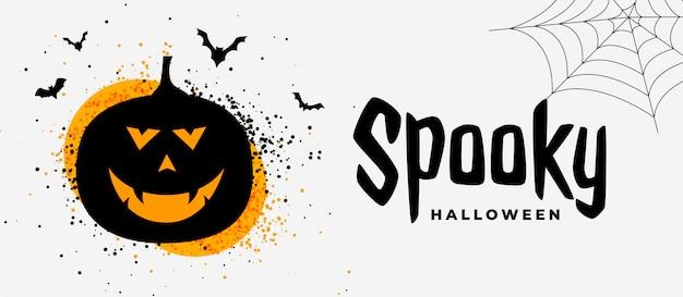 Insegna spettrale di halloween con il fantasma sorridente della zucca