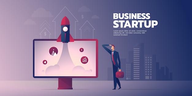 Insegna startup dell'uomo d'affari con testo