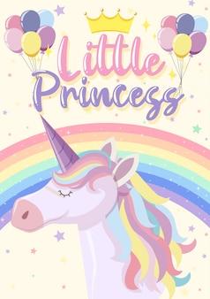 Insegna sveglia dell'unicorno su colore di sfondo pastello