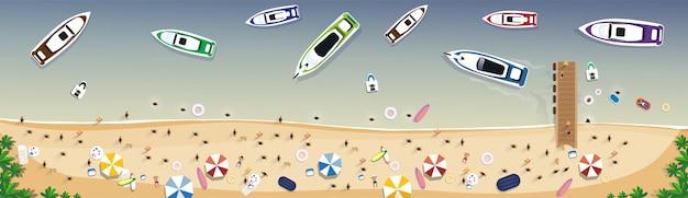 Insegna tropicale di festa della sabbia dell'insieme di vacanze estive della spiaggia