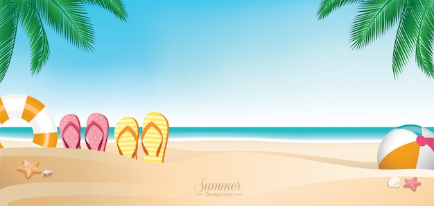 Insegna variopinta della spiaggia di vacanze estive
